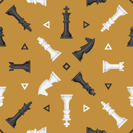 체스 조각 보드 원활한 패턴 배경 놀이 레저 개념 나이트 그룹 흰색과 검은 색 경쟁 벡터 일러스트 레이션 스톡 콘텐츠 - 87873937