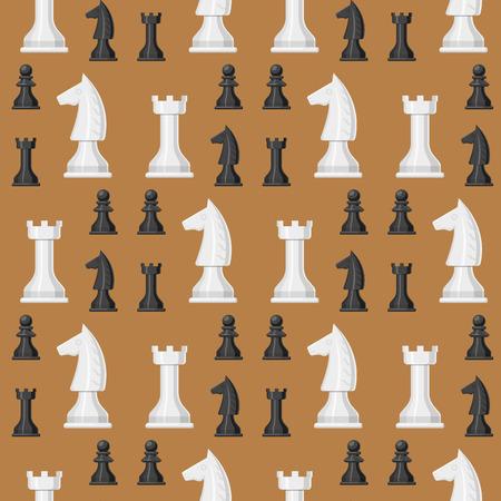 체스 보드 원활한 패턴 배경 chessmen 레저 개념 나이트 그룹 흰색과 검은 색 조각 경쟁 벡터 일러스트 레이션