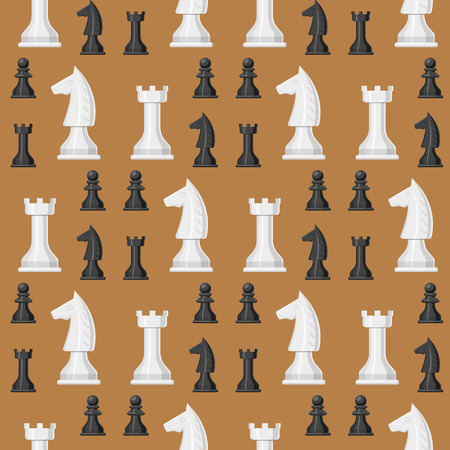 Chess board seamless pattern background chessmen leisure concept knight group white and black piece competition vector illustration Illustration
