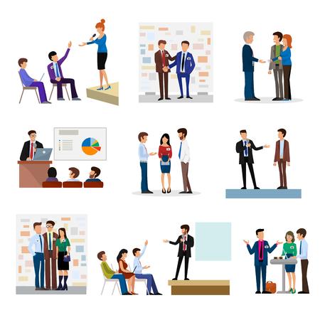 Presentatie van bedrijfsmensen groepen aan investeerders conferense teamwerk vergadering personages interview vectorillustratie.