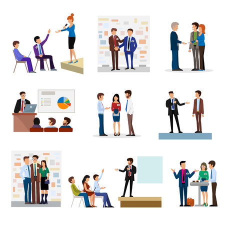Business people groups presentation to investors conferense teamwork meeting characters interview vector illustration. Illustration