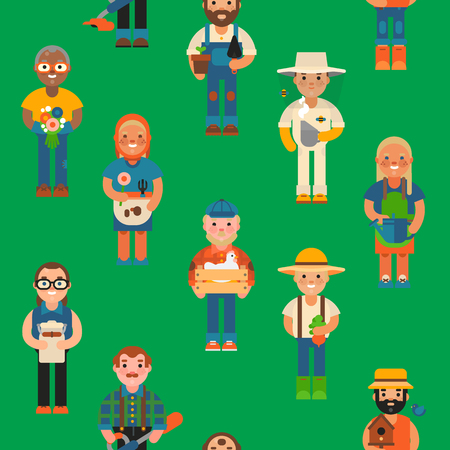 Funny farmer character isolated vector illustration on hreen background.