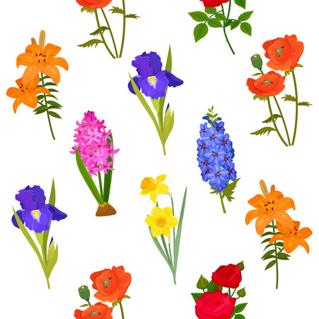 Spray of flowers silhouette seamless pattern background