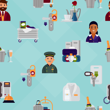 Hotel workers personal professional service man and woman job uniform objects hostel manager vector illustration seamless pattern background 向量圖像