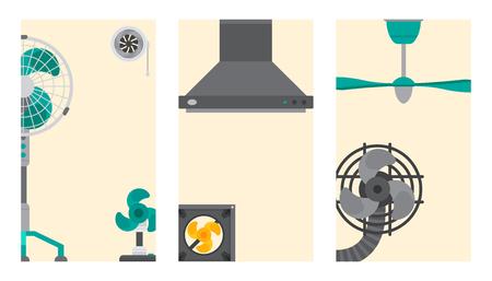 공기 조절기 공기 조절 시스템 카드 환풍기 컨디셔닝 기후 팬 기술 온도 멋진 벡터 일러스트 레이션