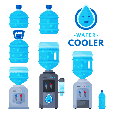 Water delivery service different water bottle vector elements.