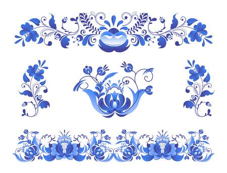 Flower traditional folk bloom branch pattern