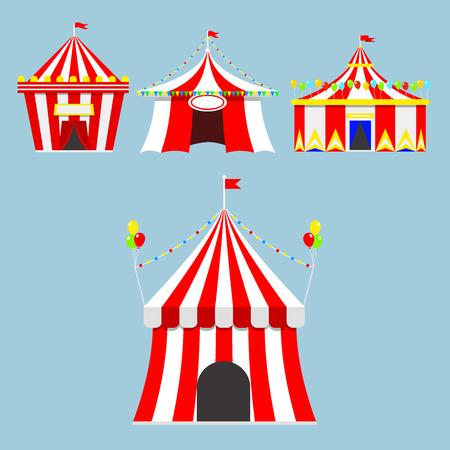 서커스 쇼 엔터테인먼트 텐트 천사 야외 축제 줄무늬와 플래그 격리 카니발 징후