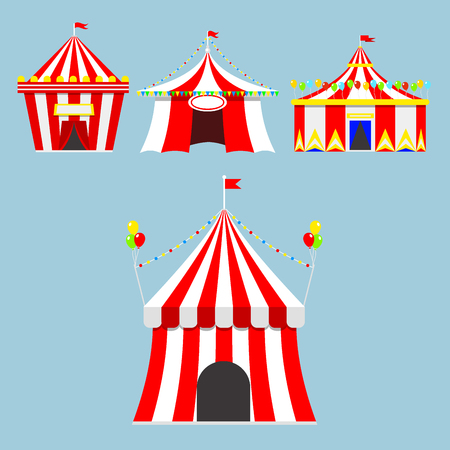 Circus show entertainment tent marquee outdoor festival with stripes and flags isolated carnival signs