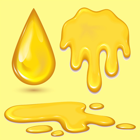 Set of orange honey drops and yellow splashes healthy syrup golden food liquid drip vector illustration. Çizim