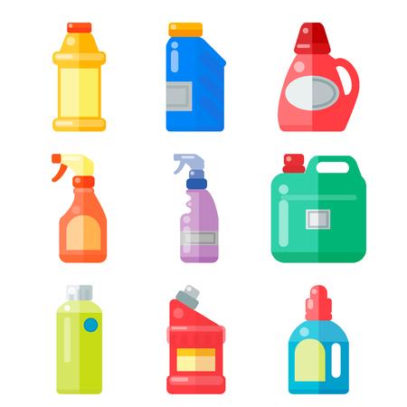 De flessen van huishoudenchemische producten leveren schoonmakende huishoudelijk werk plastic detergent vloeibare binnenlandse vloeibare schonere pak vectorillustratie.