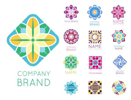 Abstract triangular polygonal shape kaleidoscope geometry company brand logo badge template circle decorative vector icon. Stock Vector - 88100026