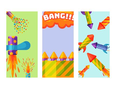Fireworks pyrotechnics rocket brochure flapper birthday party card gift celebrate vector illustration festival tools