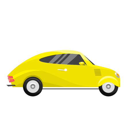 Retro vintage old style yellow car vehicle automobile exclusive speed sport transport antique garage classic auto vector illustration Ilustrace