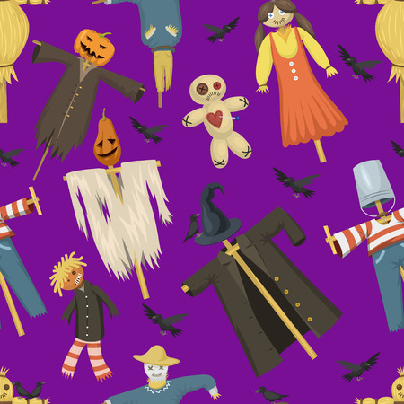 Garden ugly terrible fabric scarecrow vector fright bugaboo dolls on stiick and toy character dress from farm rag-dollseamless pattern background
