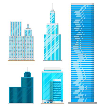 Wolkenkrabbersgebouwen geïsoleerde van de de stadsarchitectuur van het torenbureau het huis bedrijfsflat vectorillustratie