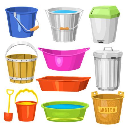 De emmers van het water behandelen containerapparatuur huishouden schone plastic lege binnenlandse hulpmiddel vectorillustratie