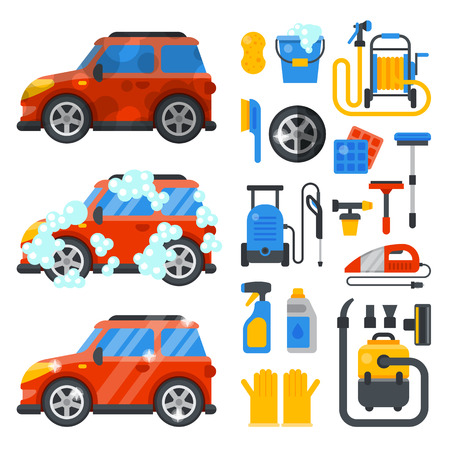 Car washing service clean tools transport automobile cleaner care auto design work wash station vector illustration Illustration
