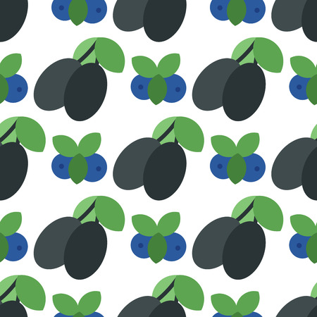 Floral seamless pattern with plums on white background.