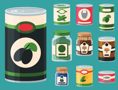 La raccolta di vario alimento del metallo delle merci in scatola delle latte conserva l'illustrazione di vettore del contenitore di vetro e di nutrizione. Drogherie di prodotti ortofrutticoli di prodotti metallici per il negozio di alimentari.