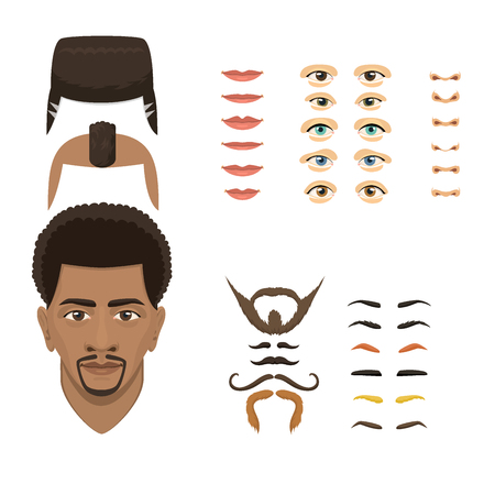 Man face emotions constructor parts eyes, nose, lips, beard, mustache avatar creator vector cartoon character creation spare parts spares animation.