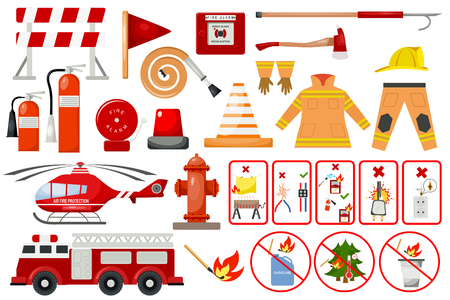 Firefighter elements fire department emergency city safety danger equipment fireman protection vector illustration.. Burning house fighter flat emblem tool.