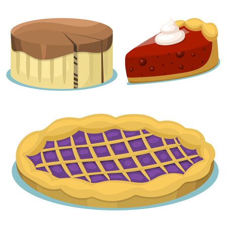 Cartoon cake fresh tasty dessert sweet pastry pie vector illustration.