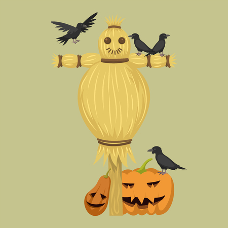 Different dolls toy character game dress and farm scarecrow vector illustration.