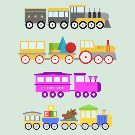 白いベクトル セットに対して分離されたカラフルなブロックと漫画おもちゃの列車。  イラスト・ベクター素材