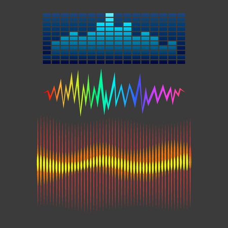 Vector digitale Musik-Equalizer Audio-Wellen-Design-Vorlage Audio-Signal Visualisierung Signal Illustration. Multitrack-Editing-System Soundtrack-Linie bar Spektrum elektronisch.