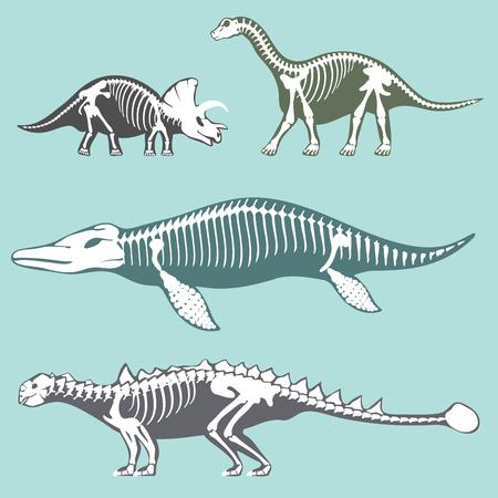 Dinosaurussen skeletten silhouetten instellen fossiele bot tyrannosaurus prehistorische dier en jura monster roofdier Dino vector vlakke afbeelding ... Reptiel uitgestorven paleontologie oude botten.