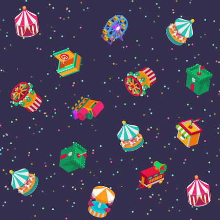 Amusement attractions pattern background.