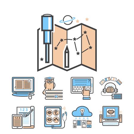 Sistema del entrenamiento del personal de los tutoriales de la educación de los iconos del esquema del diseño plano que aprende el ejemplo del vector del conocimiento de la investigación. Internet tecnología distancia profesión servicio web concepto.