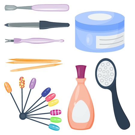 Manicure set on white background top view. Illustration