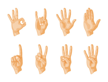 Hands signs set isolated on white background. Illustration