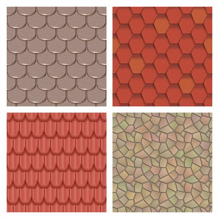 Daktegels van klassieke textuur en detail naadloze het patroon materiële vectorillustratie van het detail. Buitenkant van de bouw architectuur patroon achtergrond herhaal structuur.