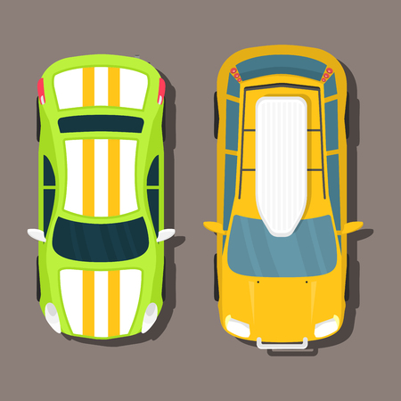 Top view colorful car toys different pickup automobile. Illustration