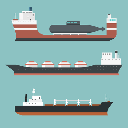 Set of commercial delivery cargo vessels.