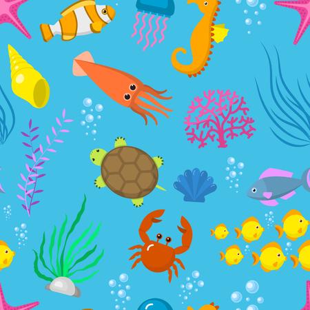 Set aquatic funny sea animals.