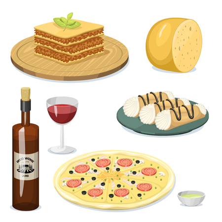 Cartoon Italy food cuisine delicious homemade cooking fresh traditional Italian lunch illustration.