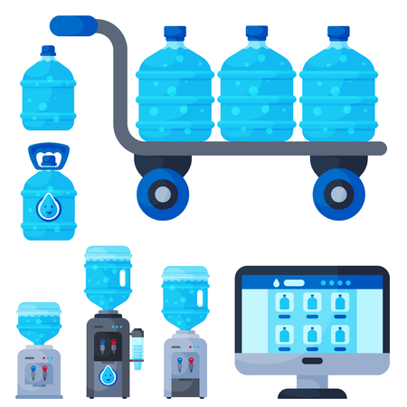 Water delivery service different water bottle illustration. Illustration