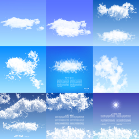 condensation: Realistic clouds blue sky transparent nature weather illustration.