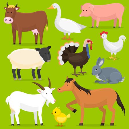 Animals, birds farmland set illustration.