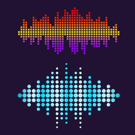 벡터 디지털 음악 이퀄라이저 오디오 파도 디자인 서식 파일 오디오 신호 시각화 신호 그림. 멀티 트랙 편집 시스템 사운드 트랙 라인 바 스펙트럼 전
