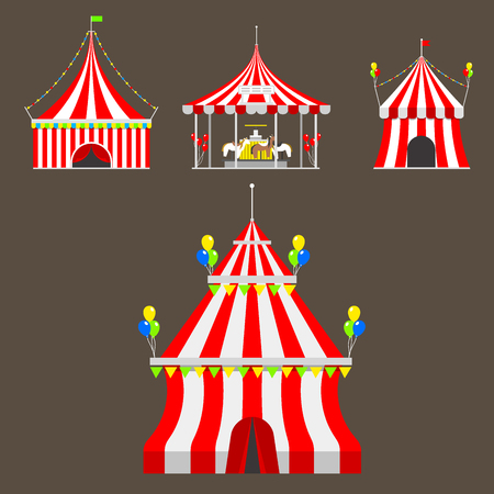 Circus tent marquee with stripes and flags