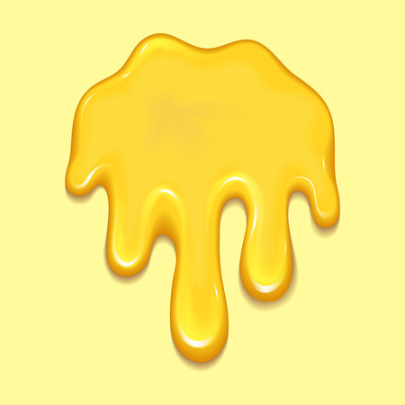 Orange honey drops and yellow splashes healthy syrup golden food liquid drip vector illustration.