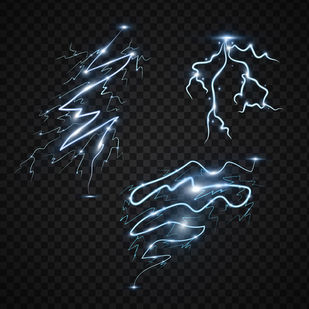 Power energy thunderbolt realistic lightnings with transparency for design thunder-storm magic and bright lighting effects illustration. Ilustração