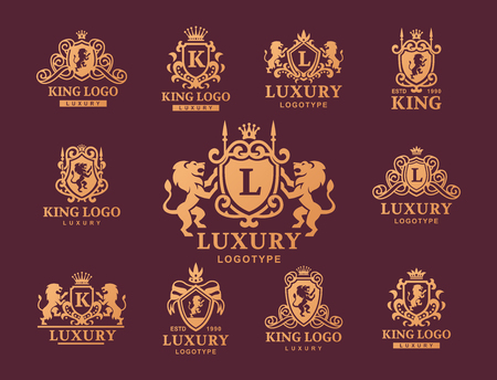 Luxury boutique Royal Crest high quality vintage product, heraldry collection, brand identity illustration with decorative quality wreath line.