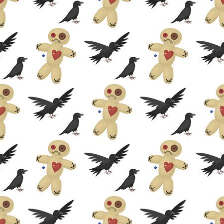 Vogelverschrikkerpop en kraspatroon Stock Illustratie