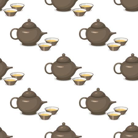 Kettle teapot drink hot breakfast kitchen utensil seamless pattern tea pot with two cups vector illustration.